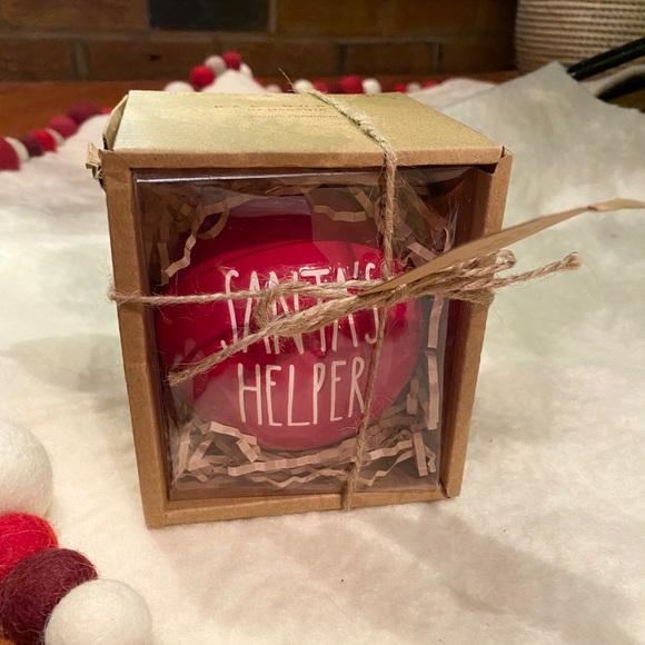 Rae Dunn Santa's Helper Ceramic Christmas Ornament